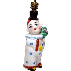 Vintage Art Deco Clown with Flowers German Crown Top Figural Perfume from charmalier on Ruby Lane