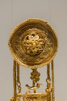 Detail of an Etruscan granulated gold pendant C.500BC