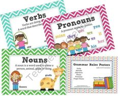 Grammar Rules Posters with Word Examples - Noun, Verb, Adjective etc from Pink Passionfruit Classroom Resources on TeachersNotebook.com -  (14 pages)  - Very useful grammar rules posters for your classroom. Included is: Verbs, Adverbs, Adjectives, Nouns, Pronouns, Proper Nouns.