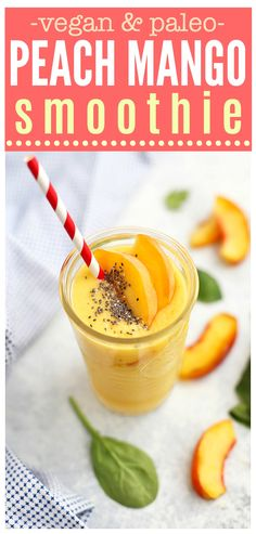 Peach Mango Bliss - A bright, sunny smoothie to sip! This delicious peach mango smoothie is bursting with flavor. (vegan and paleo!)