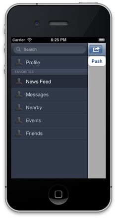 A clone of the new Facebook iOS UI paradigm