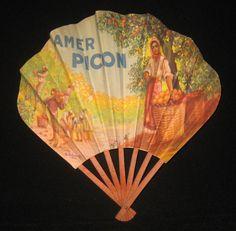 Vintage Advertising Amer Picon Liquor Paper Fan on Collectors Quest