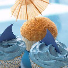 Shark & Beach Cupcakes