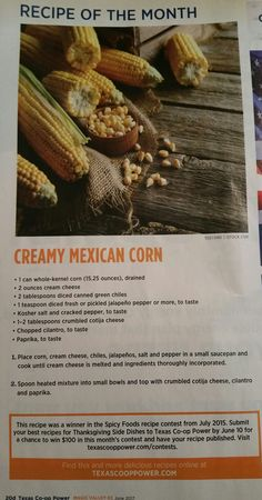 Elote, or Creamy Mexican Corn, recipe from Texas Co-Op Power magazine, a product of Magic Valley Electric