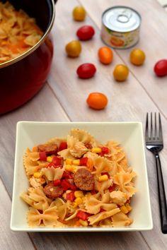 One pot pas au chorizo, dinde, maïs, tomate, poivron et oignon. Un plat complet équilibré à 8SP Weight Watchers.
