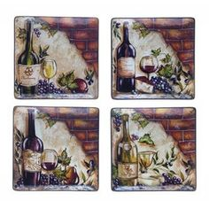 Certified International Wine Cellar by Tre Studios Square Dinner Plate (Set of 4)
