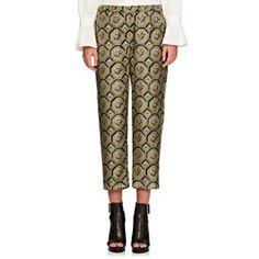 Octagonal-Print Silk Crop Pajama Pants