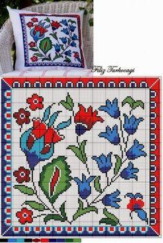 "Lovely Heart Stuff: ""The author of embroidery Filiz Türkocağı in Iznik pottery style (Turkey)"" Cross Stitch Charts, Cross Stitch Designs, Cross Stitch Patterns, Cross Stitching, Cross Stitch Embroidery, Embroidery Patterns, Cushion Embroidery, Quilting Patterns, Cross Stitch Cushion"