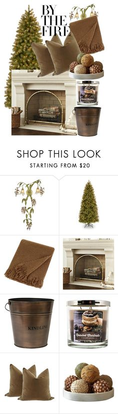 """""""By the Fire"""" by earthangell on Polyvore featuring interior, interiors, interior design, home, home decor, interior decorating, ELK Lighting, National Tree Company, UGG Australia and Ballard Designs"""
