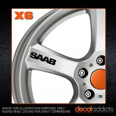 SAAB Car Alloy Wheel Decals Stickers x6 - suit 95, 93, 900, 9000, AERO, HOT
