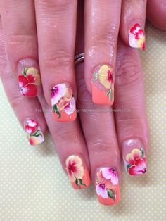 White and orange tips with one stroke freehand flower nail art