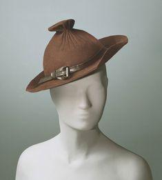 Woman's hat   United States, 1936   Designer: Howard Hodge (American, 1894-1966)   Materials: brown wool felt, leather   Philadelphia Museum of Art