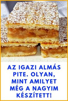 Easy Desserts, Dessert Recipes, New Year's Food, Apple Cake Recipes, Hungarian Recipes, Cake Cookies, Food To Make, Food And Drink, Cooking Recipes