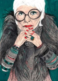 Iris Apfel at Home Fashion Illustration Sketches, Ink Illustrations, Portrait Illustration, Iris Apfel Young, 50 Y Fabuloso, Collages, Last Minute Costumes, Shabby Chic, Guache