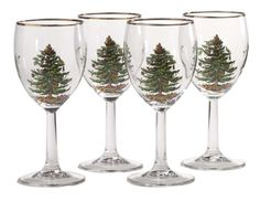 $32.99-$50.00 Spode Christmas Tree 13-Ounce Wine Goblets with Gold Rims, Set of 4 - Spode Christmas Tree is an invitation to a charming table that becomes a family tradition as your collection and memories grow. The Christmas Tree set of 4 clear hand-decorated stemmed wine glasses are a charming addition to the place setting or as barware.  The glasses are each decorated with the classic Christm ...