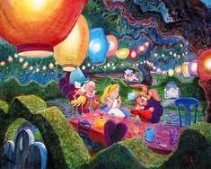 Alice Wonderland Mad Hatter Harrison Ellenshaw Disney NEW Canvas LE 195 Signed Alice In Wonderland Animated, Alice In Wonderland Tea Party, Disney Fine Art, Tea Party Decorations, Arte Disney, Disney Magic, Mad Hatter Tea, Mad Hatters, Adventures In Wonderland