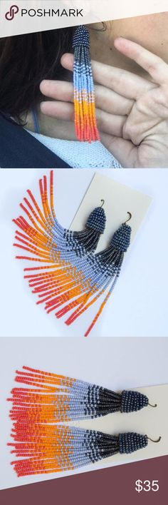 Southwest Desert Sunset - Hand-sewn Beaded Tassel Hand-sewn beaded tassel earrings with hues inspired by Southwestern sunsets. These dangle earrings drop to approx. 3.75 inches. Nickel free.  100% of proceeds donated to Breast Cancer Awareness   See my Etsy store for $2.99 shipping: https://www.etsy.com/listing/541837011/southwest-desert-sunset-hand-sewn-beaded Jewelry Earrings