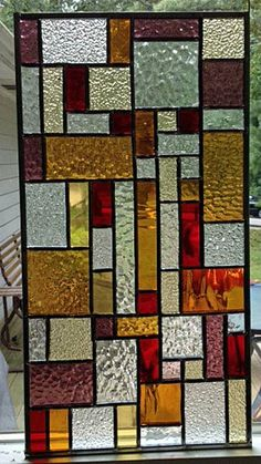 Stained glass panel window. autumn colors. by StainedGlassPanels