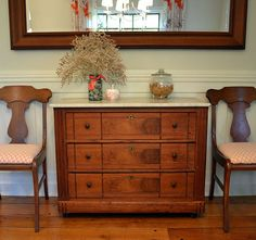 Antique Burl Walnut Chest of Drawers with Marble Top
