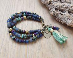 bohemian bracelet yoga jewelry gypsy jewelry hippie by OmSaha.no tassle. Hand Jewelry, Yoga Jewelry, Jewelry Gifts, Jewelery, Jewelry Bracelets, Blue Bracelets, Pearl Necklaces, Leather Bracelets, Leather Earrings