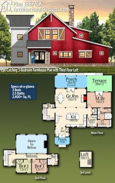 Building A House Discover Plan Eye-Catching Farmhouse Plan with Third Floor Loft Architectural Designs Farmhouse Plan you 3 bedrooms baths and 2400 sq. New House Plans, Dream House Plans, House Floor Plans, Barn Style House Plans, Dream Houses, Metal Building Homes, Building A House, Building Ideas, The Plan