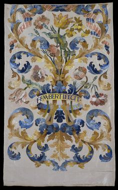 Wall Panel Embroidered with Acanthus Leaf and Flower Motifs  France, 1701