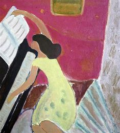 'Woman by the piano' - Johs Rian Woman Painting, Figure Painting, Piano Y Violin, Modern Art, Contemporary Art, Matisse Art, Photorealism, Conceptual Art, Art Music