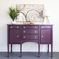 "Refinished Elegant Sideboard - Kirschholz Buffet Refinished in ""Twilight Geranium"" Aubergine Furnitu - Products - Paint Furniture, Dining Room Furniture, Furniture Makeover, Furniture Decor, Decoupage Furniture, Furniture Design, Vintage Decor, Vintage Furniture, Salvaged Furniture"