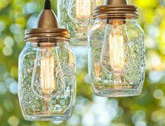 Mason Jar Crafts - DIY Mason Jar Hanging Pendant Lights Craft Tutorial   #crafts #masonjars via Put it in a Jar (putitinajar.com)