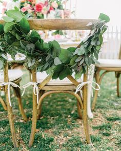 Floral garland on vintage X-back chairs. Styling by Amore Events by Cody, florals by Anthomanic, image by Rachel May Photography. #wedding