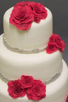 wedding cake fuchsia on white w/ sparkles roses silver pink