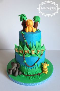 Jungle or safari themed cake for a baby shower but could also be for a birthday  www.facebook.com/CustomByJanet Cupcake Cakes, Cupcakes, Custom Cakes, Themed Cakes, Cake Ideas, Safari, Birthday Cake, Baby Shower, Facebook