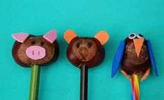 23 DIY Pencil Toppers for Kids - Back to school Crafts - Kids Art & Craft Recycled Crafts Kids, Crafts For Kids, Arts And Crafts, Conkers Craft, Buckeye Crafts, Fall Art Projects, Back To School Crafts, Pencil Toppers, Craft Free