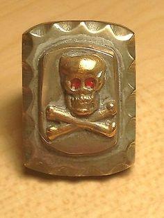 Antique+Mens+Mexican+Biker+Ring+Skull+and+Crossbones