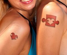 Mother And Daughter Matching Tattoo Quotes Puzzle Tattoos, Family Tattoos, Sister Tattoos, Couple Tattoos, Love Tattoos, Beautiful Tattoos, Body Art Tattoos, Mother And Daughter Tatoos, Mommy Daughter Tattoos