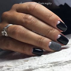 Accurate nails, Beautiful black nails, Dark nails, Fall nails 2017, Fall nails trends, Grey nails, Half moon black nails, Half moon nails