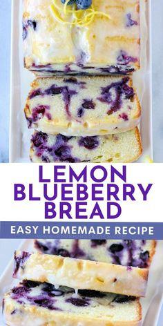 Lemon Dessert Recipes, Baking Recipes, Cookie Recipes, Healthy Lemon Desserts, Blueberry Recipes Easy, Blueberry Bread Recipe Moist, Lemon Blueberry Cakes, Blueberry Lemon Bread With Glaze, Sweet Bread Loaf Recipe