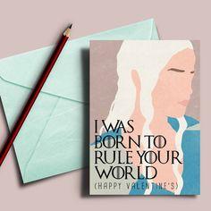 Daenerys Valentines card Game of Thrones fan by DesignGenesStudio