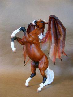 Custom/Cm OOAK Fantasy Rearing Red Pegasus Stallion by PZ13