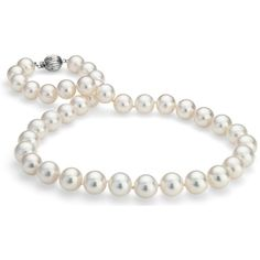 Blue Nile Freshwater Cultured Pearl Strand Necklace ($1,995) ❤ liked on Polyvore featuring jewelry, necklaces, accessories, pearls, украшения, strand necklace, blue nile jewelry, freshwater cultured pearl necklace, 14 karat gold jewelry and cultured pearl jewelry