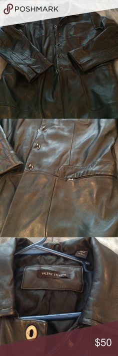 Leather jacket Valerie Stevens soft leather jacket. Very stylish. Too big for me. Size LARGE.  Pretty gunmetal silver tone buttons. Left breast pocket and two hip sipper pockets. Lining is ripped in two places as pictured and small rip near top but neither are visible. Leather and dry clean only. I am 145 lbs and I used to wear this with a thick sweater under it in winter. It looks really nice Valerie Stevens Jackets & Coats Blazers