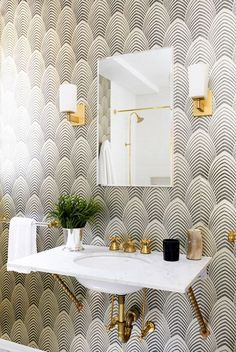 Grey and white wallpaper with gold hardware | How to update a guest bathroom