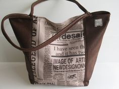 newspaper print  bag dark brown shoulder bag by LIGONaccessories, $69.00