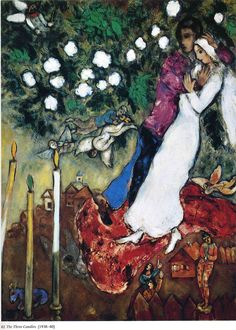Marc Chagall - The Three Candles, 1938 - 1940, oil on canvas, 127.5 x 96.5 cm