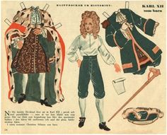 Carl XII, King of Sweden (1697-1718) / House Mother's Cut-Out Dolls From History / Swedish paper dolls
