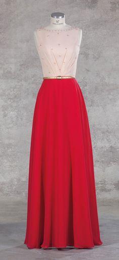 Isabel de Mestre Abendmode 2017 - Evenings Abendkleider Kollektion 2017 (Art.16E 010): Langes Abendkleid in Rosé-Rot - sehr schön z.B. für die Brautmutter.