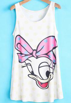 Beige+Sleeveless+Bow+Daisy+Duck+Print+Vest+US$15.55