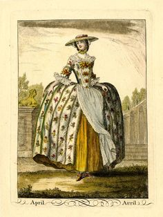 "Hand-coloured etching and engraving from a set of twelve fashion plates: 1749, ""April"", London, ""A lady wearing a hooped gown decorated with small flowers, with a lace apron, cuffs and fichu and a broad-brimmed straw bonnet over a lace cap,"" ""Inscription Content: Lettered below the image with the title in English and French; etched in the image 'April'"""