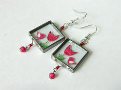 Unique glass earrings  www.lintu-nakit.si