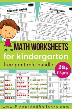 Kindergarten math worksheets pdf - perfect for kindergarten math centers! Addition worksheets, subtraction worksheets, tally marks, and more! Printable Math Worksheets, Free Kindergarten Worksheets, Homeschool Kindergarten, Math Activities, Kindergarten Addition Worksheets, Free Printables, Addition And Subtraction Worksheets, Online Homeschooling, Subtraction Games